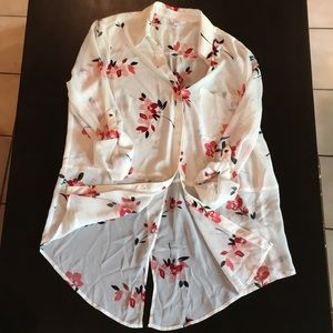 Candie's Tops - Floral sheer blouse